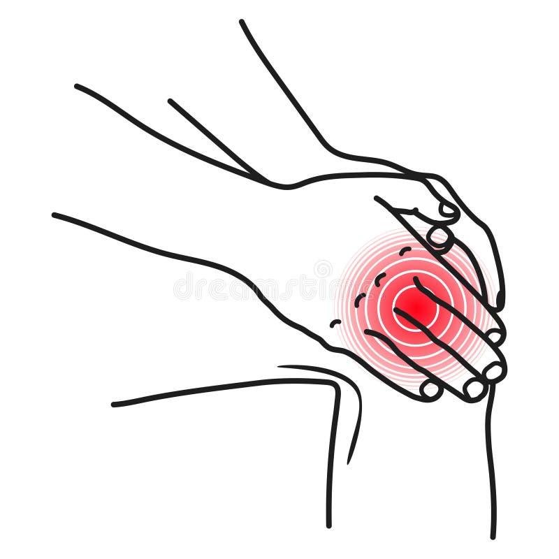 Icono del dolor de la rodilla, síntoma físico herido del accidente ilustración del vector