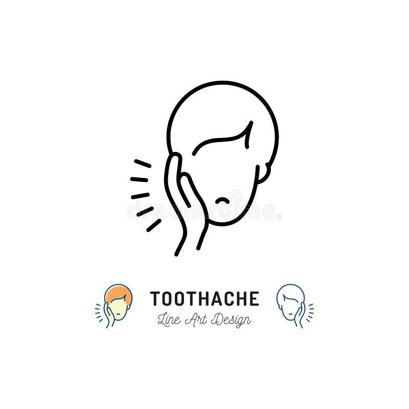 Icono del dolor de muelas, muestra dental del dolor Hombre con el dolor del mandíbula del dolor de muelas, enfermedades dentales  stock de ilustración