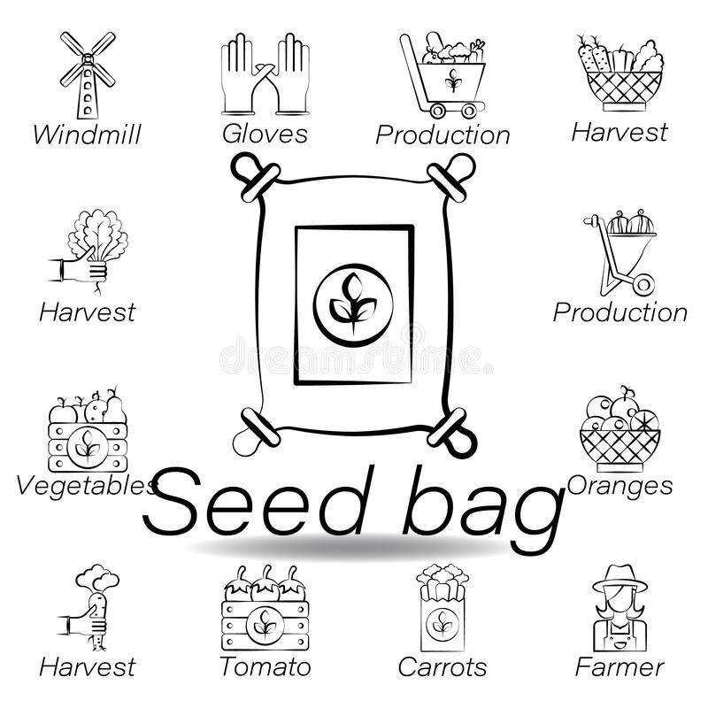 Icono del drenaje de la mano del bolso de la semilla Elemento de cultivar iconos del ejemplo Las muestras y los s?mbolos se puede ilustración del vector