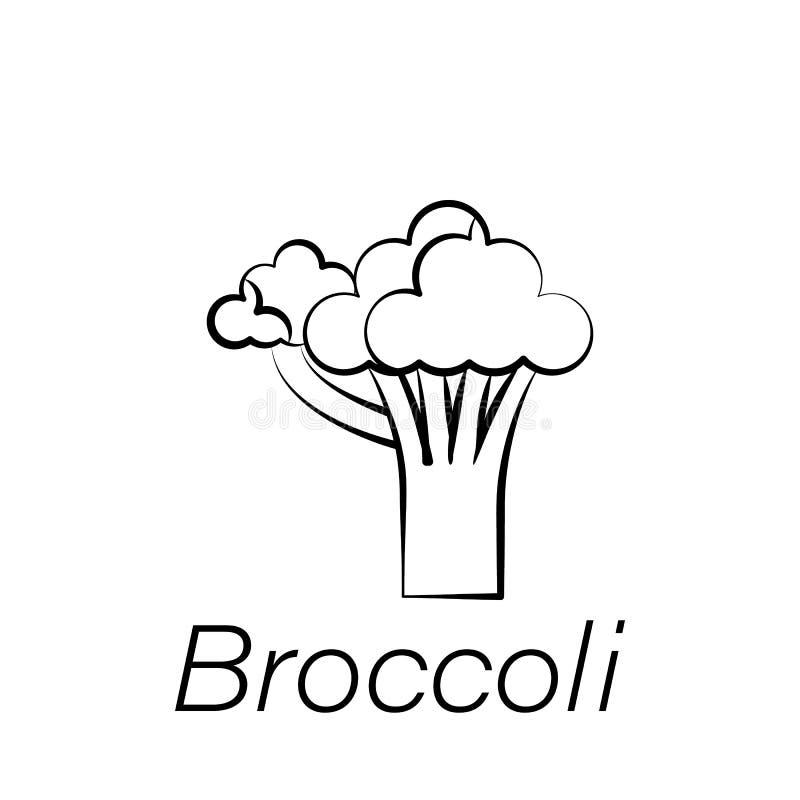 Icono del drenaje de la mano del bróculi Elemento de cultivar iconos del ejemplo Las muestras y los símbolos se pueden utilizar p ilustración del vector