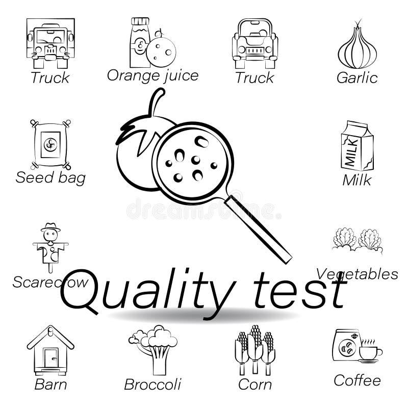 Icono del drenaje de la mano de la prueba de la calidad Elemento de cultivar iconos del ejemplo Las muestras y los s?mbolos se pu stock de ilustración