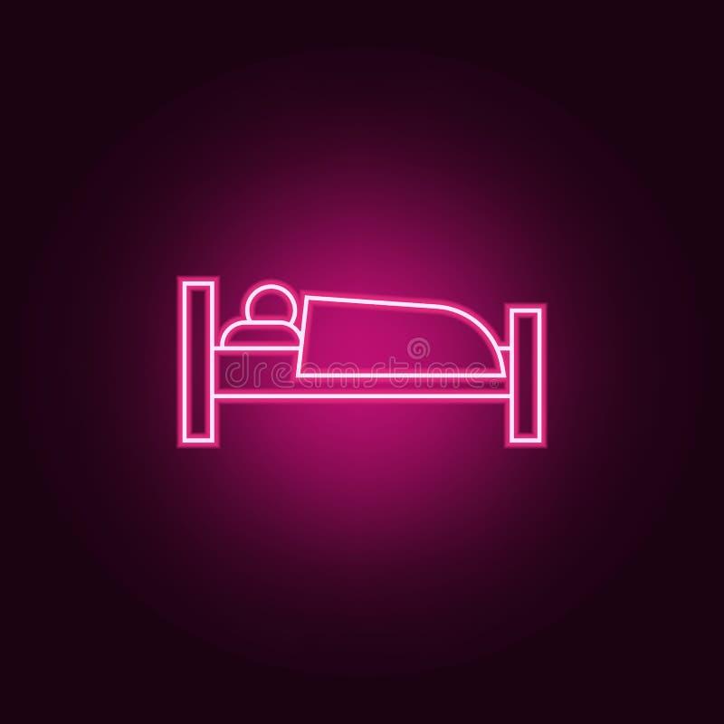 icono del durmiente Elementos del hotel en los iconos de neón del estilo Icono simple para las páginas web, diseño web, app móvil stock de ilustración