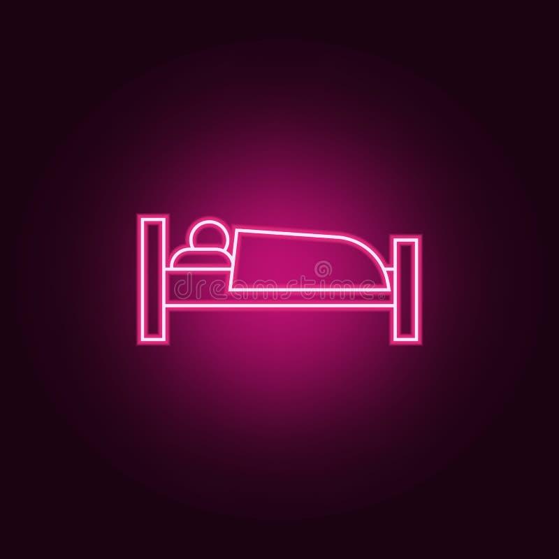 icono del durmiente Elementos del hotel en los iconos de ne?n del estilo Icono simple para las p?ginas web, dise?o web, app m?vil libre illustration