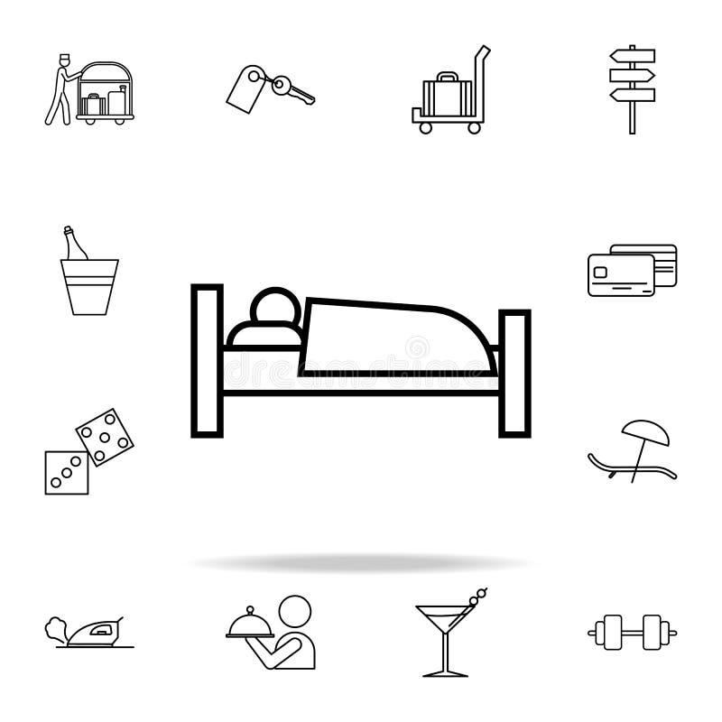 icono del durmiente Sistema universal de los iconos del hotel para el web y el móvil libre illustration