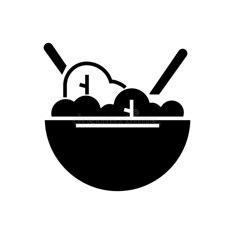 Icono del eco del cuenco de ensalada, ejemplo del vector, muestra negra en fondo aislado ilustración del vector