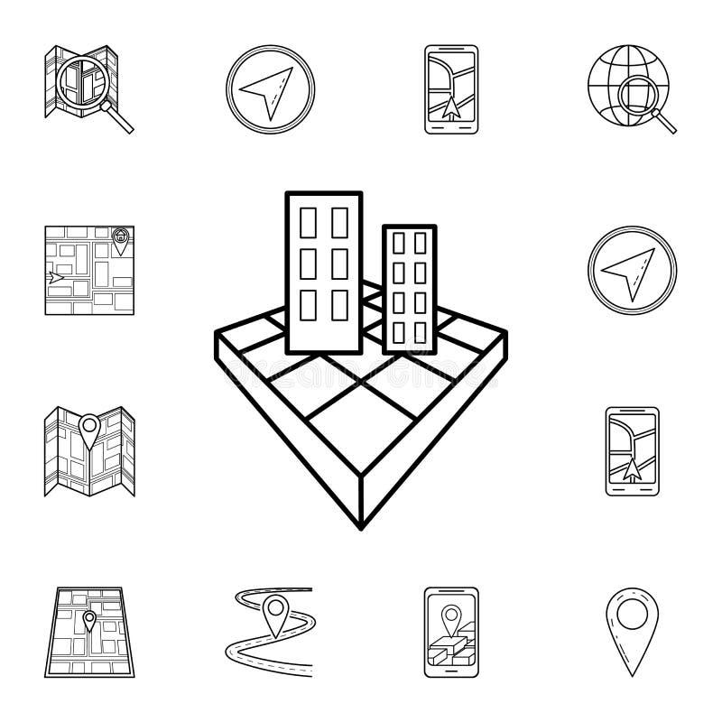 icono del edificio 3d Sistema detallado de iconos de la navegación Diseño gráfico superior Uno de los iconos de la colección para ilustración del vector