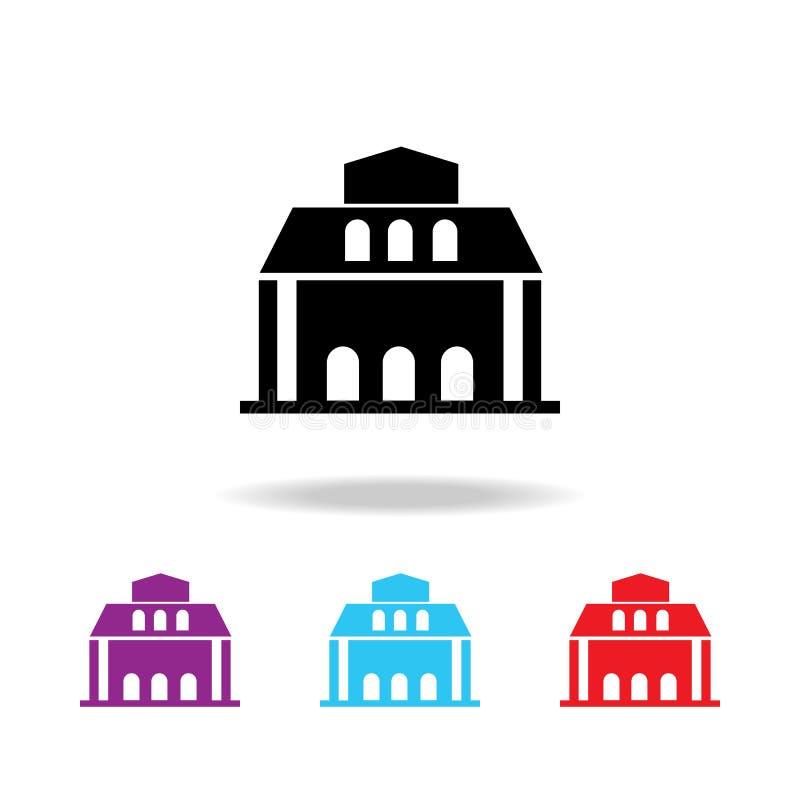 Icono del edificio de biblioteca Elementos del edificio en los iconos coloreados multi para los apps móviles del concepto y del w ilustración del vector