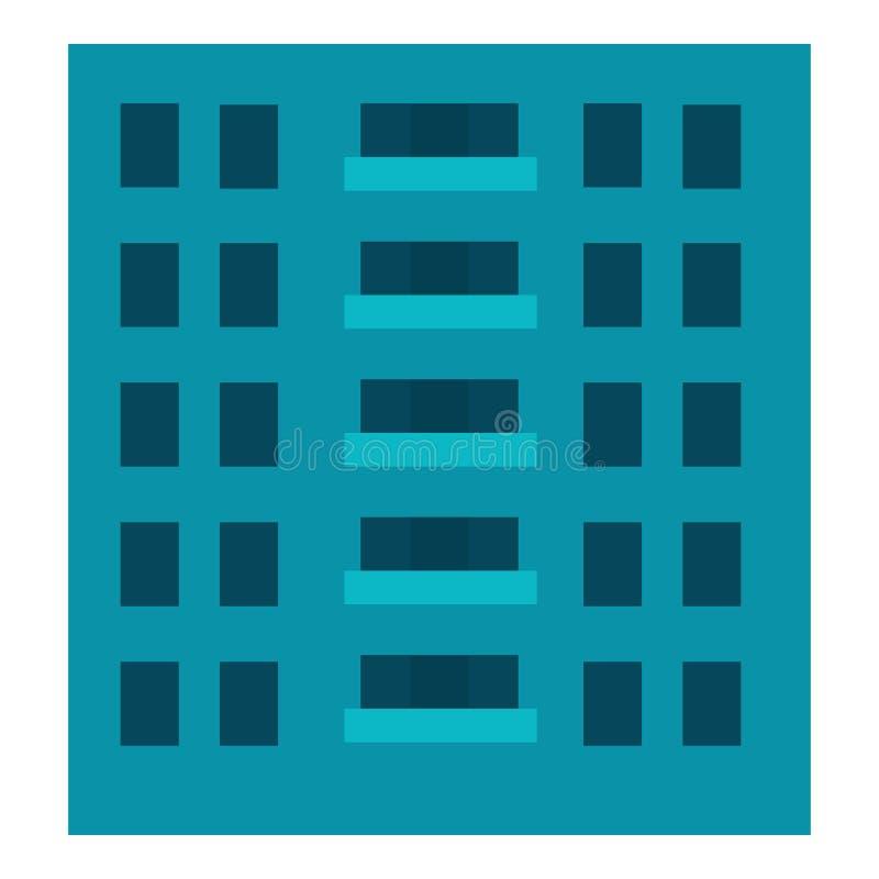 Icono del edificio de la ciudad, estilo plano ilustración del vector