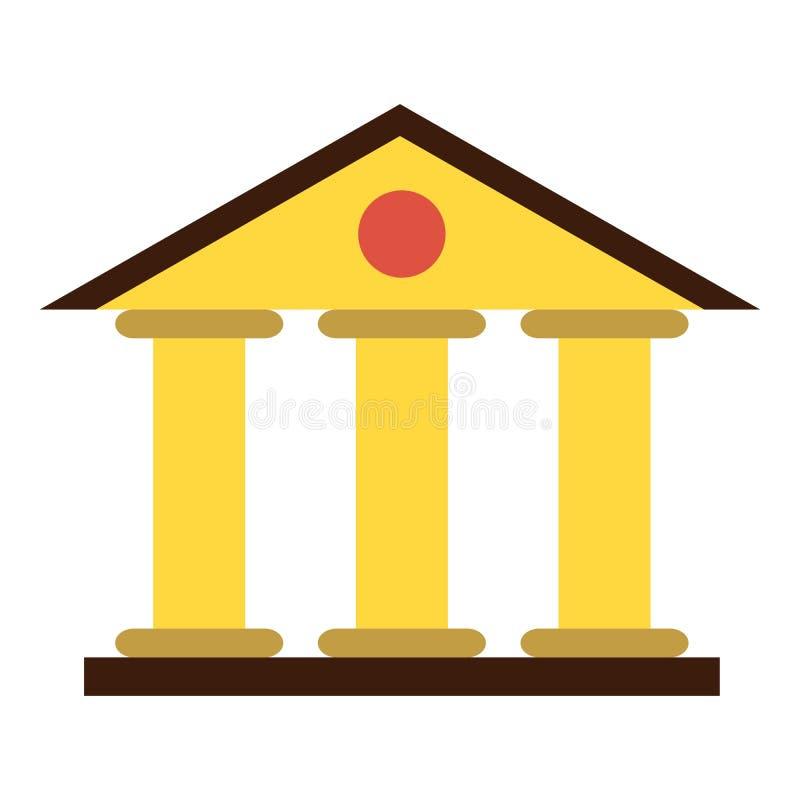 Icono del edificio de la corte de la justicia, estilo plano stock de ilustración