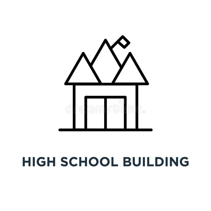 Icono del edificio de la escuela secundaria Ejemplo simple linear del elemento H libre illustration