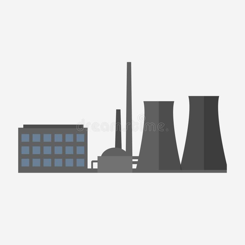 Icono del edificio de la fábrica stock de ilustración