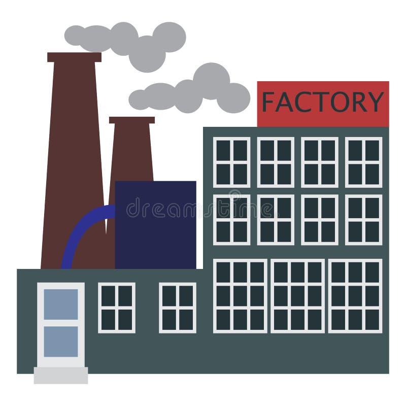 Icono del edificio de la fábrica de la fabricación, ejemplo del vector libre illustration