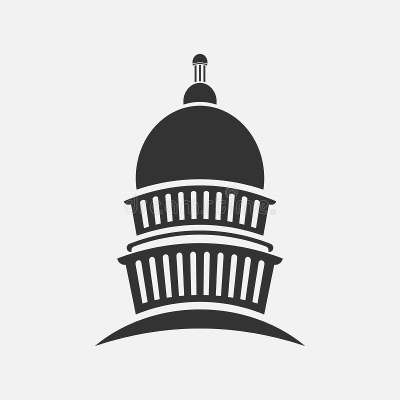 Icono del edificio de la reunión del congreso del capitolio, ilustrador ilustración del vector