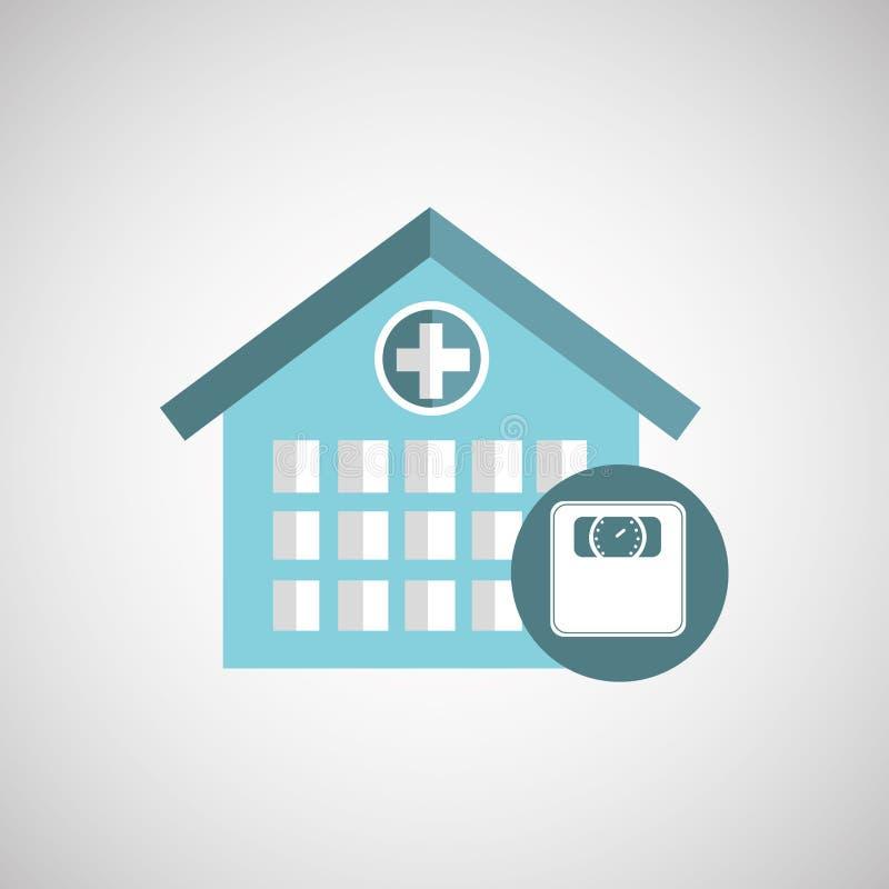 icono del edificio del hospital de la escala del peso stock de ilustración
