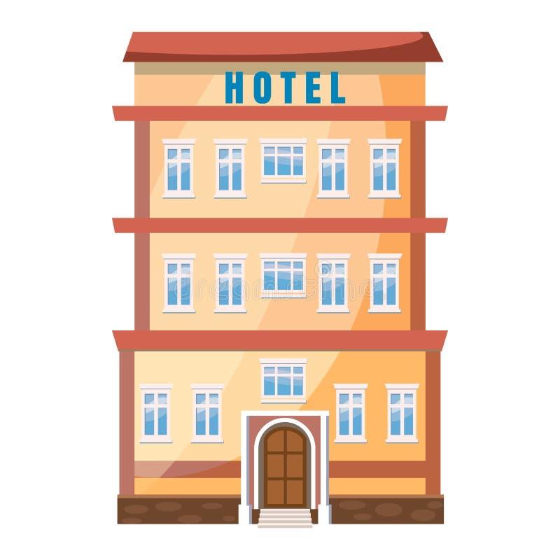 Icono del edificio del hotel en estilo de la historieta libre illustration