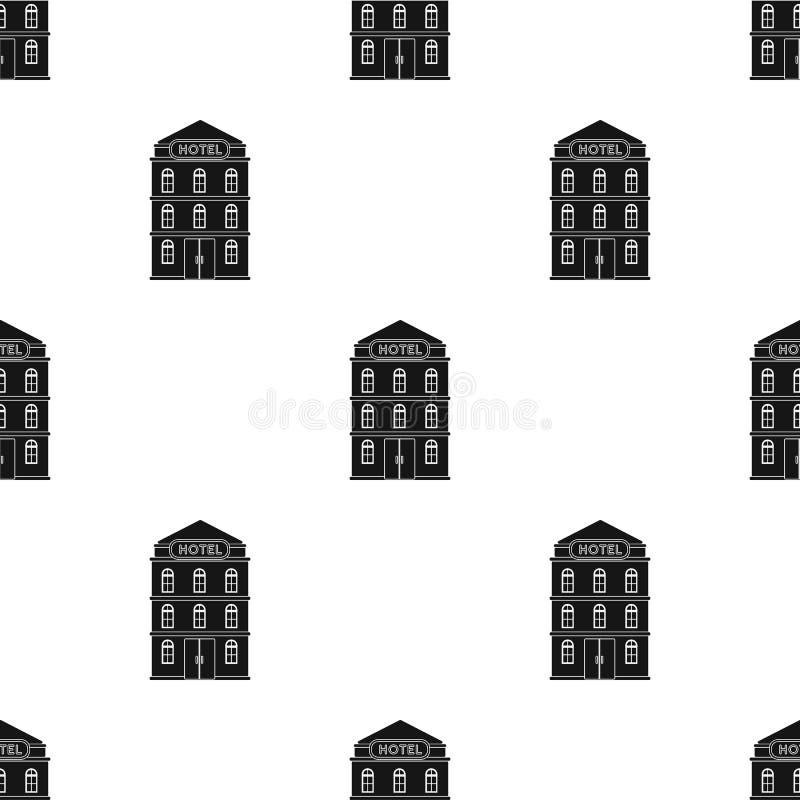 Icono del edificio del hotel en estilo negro aislado en el fondo blanco Ejemplo del resto y del vector de la acción del símbolo d ilustración del vector
