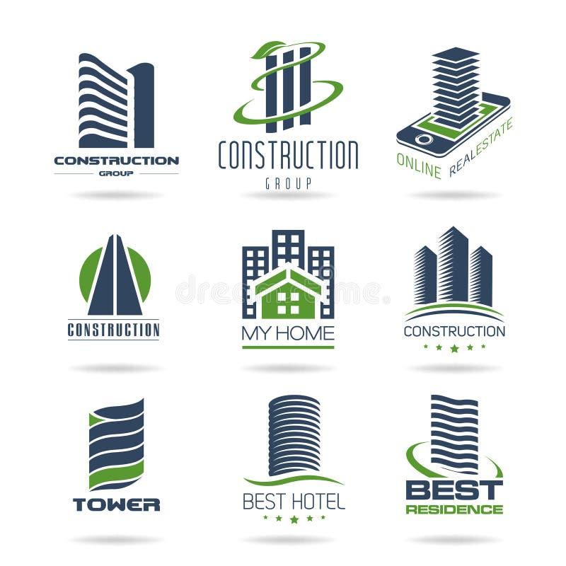 Icono del edificio y de la construcción fijado - 2 stock de ilustración