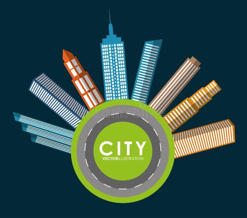 Icono del edificio y de la torre Diseño de la ciudad Gráfico de vector stock de ilustración
