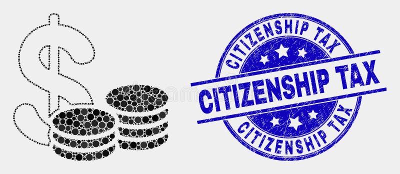 Icono del efectivo de Pixelated del vector y sello rasguñado del timbre fiscal de la ciudadanía ilustración del vector
