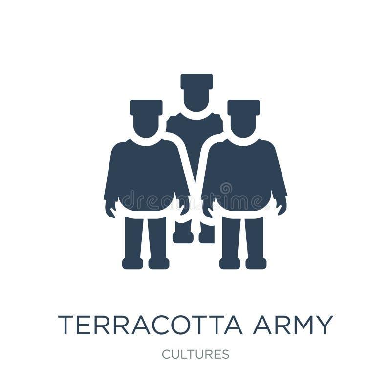 icono del ejército de la terracota en estilo de moda del diseño icono del ejército de la terracota aislado en el fondo blanco ico stock de ilustración