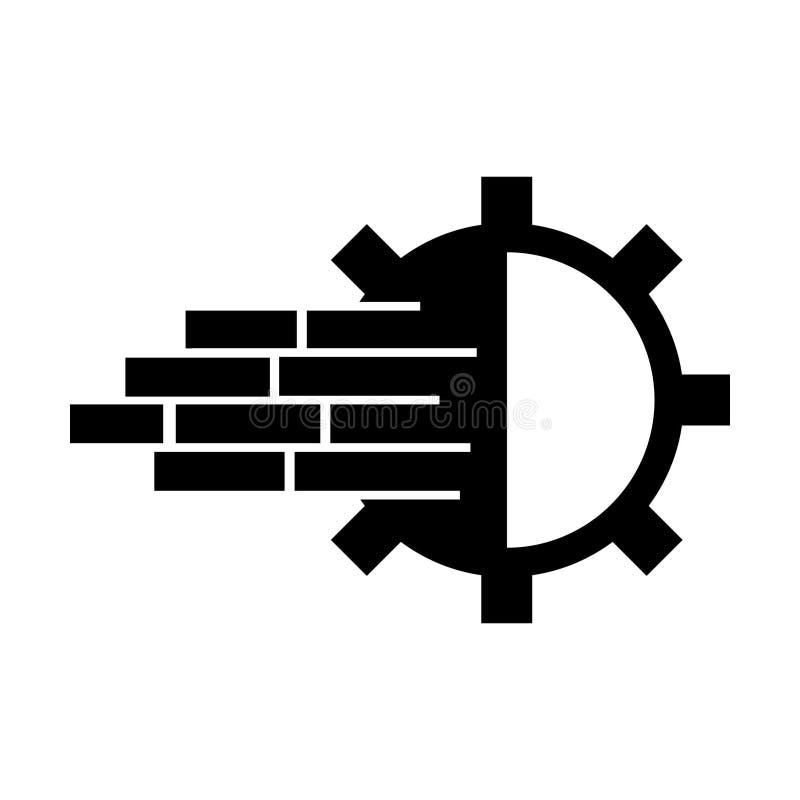 Icono del ejemplo de la maquinaria del engranaje ilustración del vector