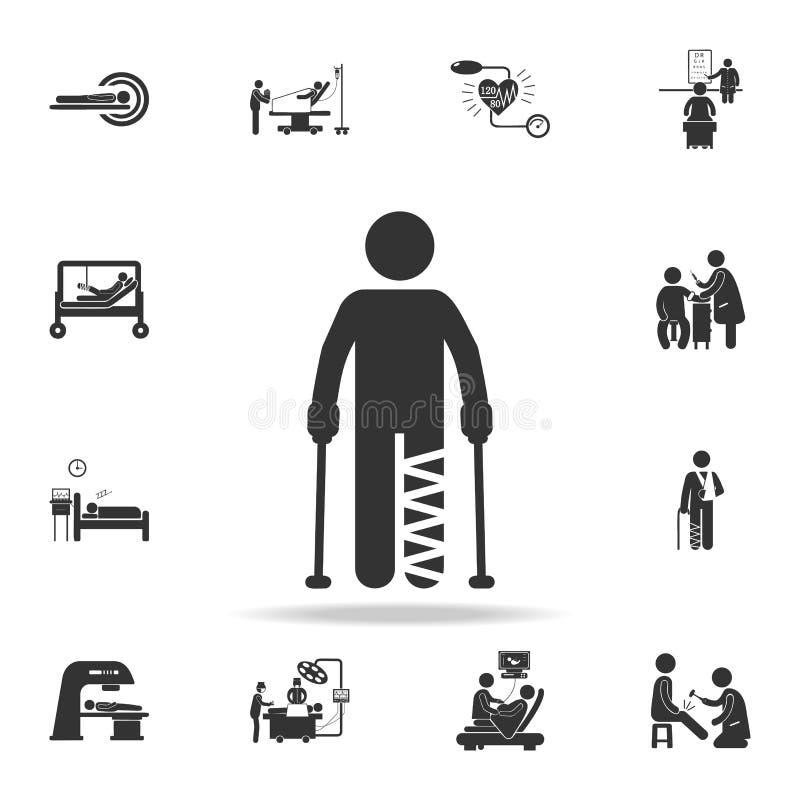 icono del ejemplo de la muleta del pie del yeso Sistema detallado del ejemplo del elemento de la medicina Diseño gráfico de la ca libre illustration