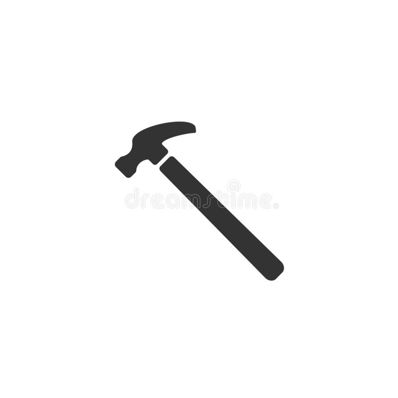 Icono del ejemplo del martillo de acero Símbolo casero de la muestra de la herramienta de la reparación libre illustration
