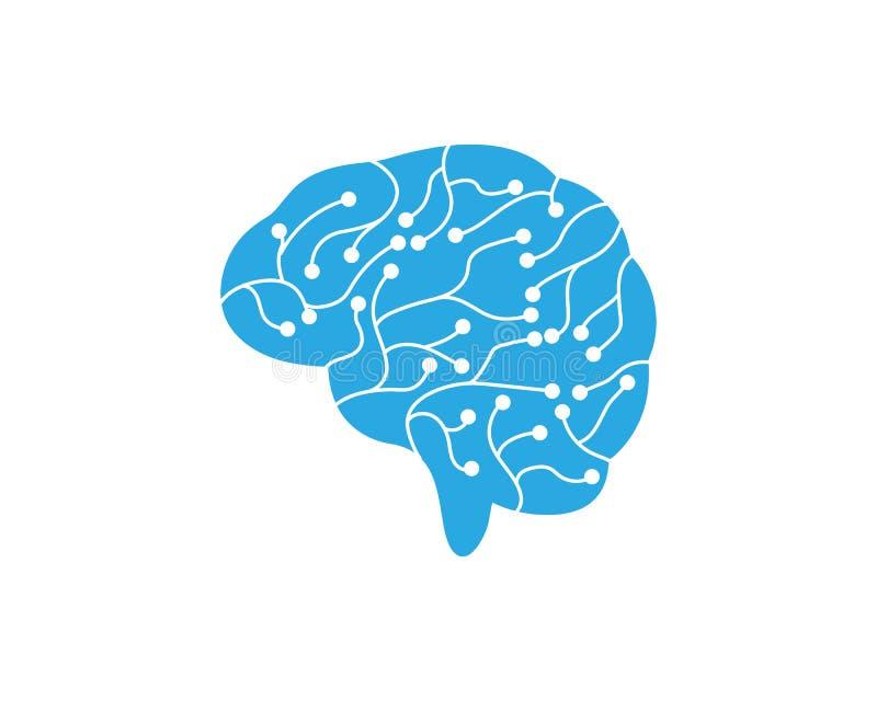Icono del ejemplo del vector del cerebro del circuito stock de ilustración