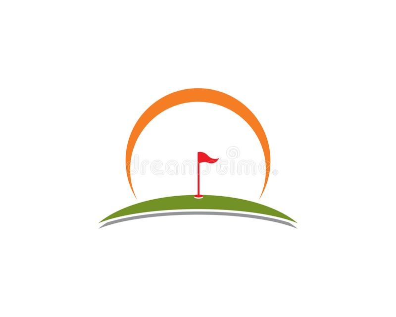 Icono del ejemplo del vector de Logo Template del golf stock de ilustración