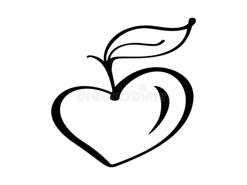 Icono del ejemplo del vector del logotipo del corazón del amor del árbol del crecimiento del vegano, diseño de la comida Letras m ilustración del vector