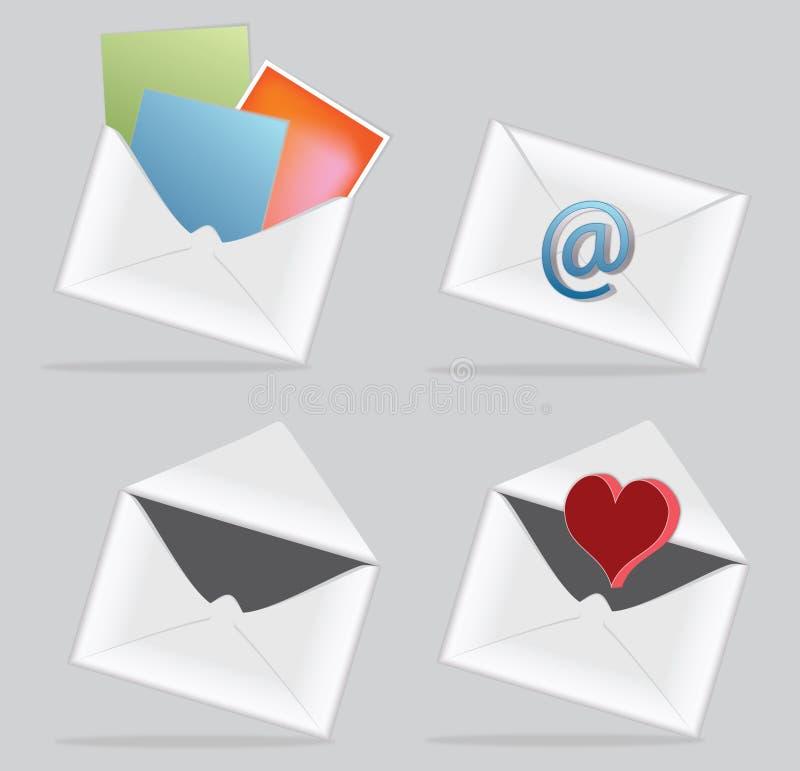 Icono del email con el sobre ilustración del vector