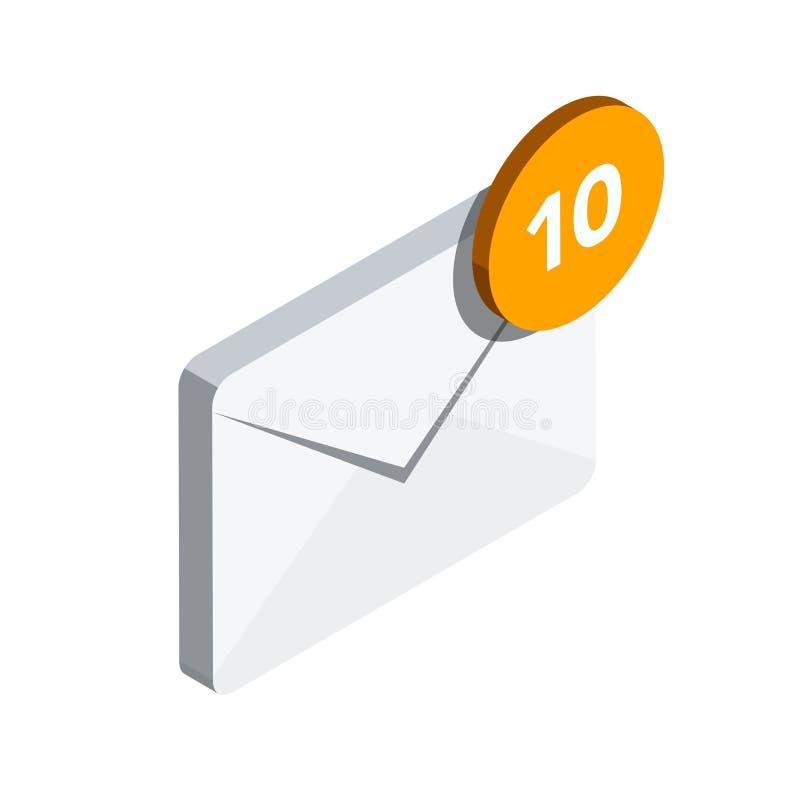 Icono del email en el estilo isométrico 3D ilustración del vector