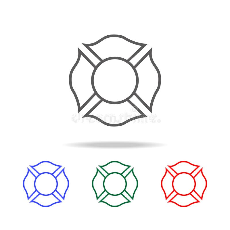icono del emblema del bombero Elementos de los iconos coloreados multi del bombero Icono superior del diseño gráfico de la calida stock de ilustración