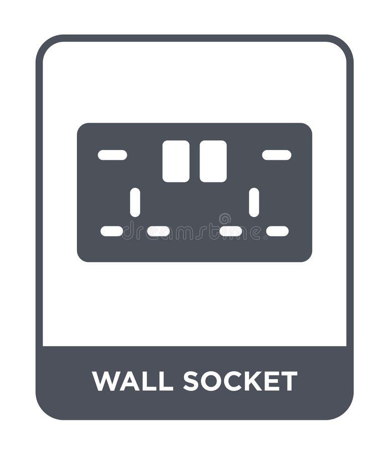 icono del enchufe de pared en estilo de moda del diseño icono del enchufe de pared aislado en el fondo blanco icono del vector de ilustración del vector