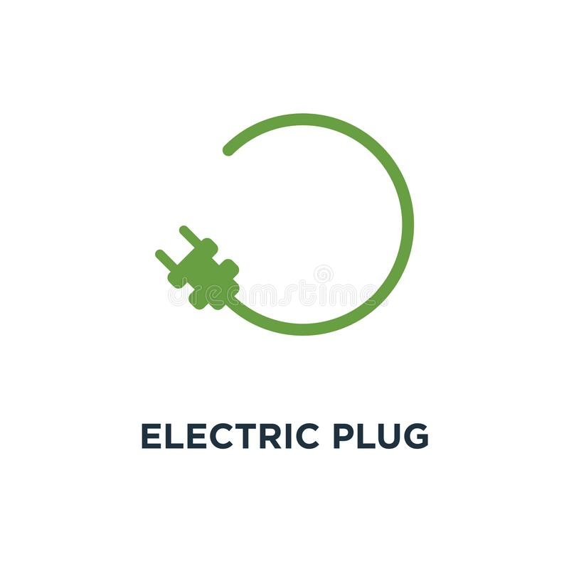 Icono del enchufe eléctrico DES del símbolo del concepto de la muestra de la estación de carga del coche ilustración del vector