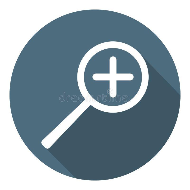 Icono del enfoque del aumento de la lupa Estilo plano Ejemplo para su dise?o, web del vector stock de ilustración
