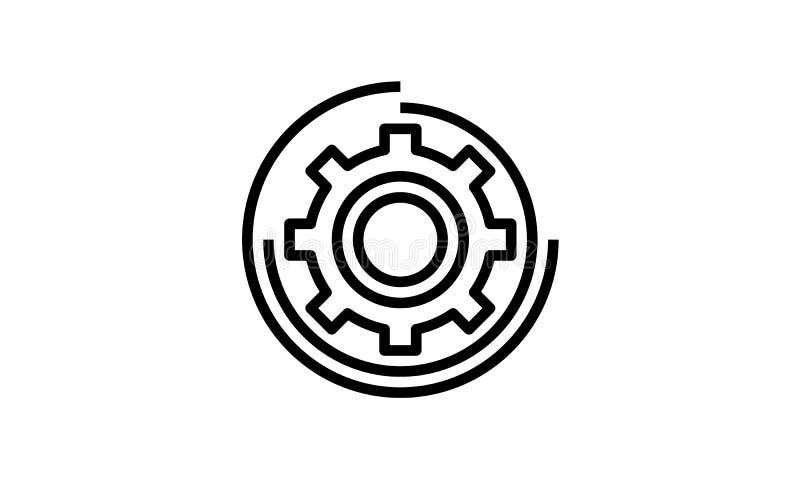 Icono del engranaje con el arte blanco del vector del fondo libre illustration