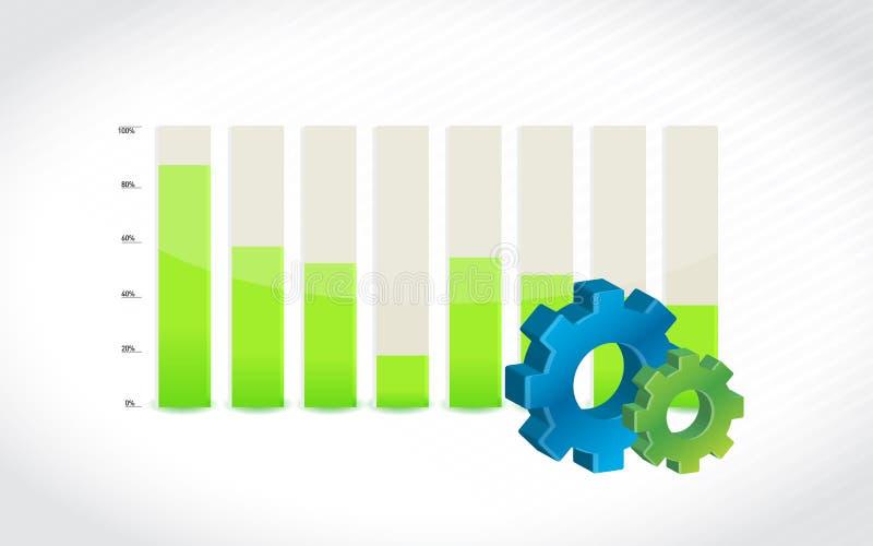 Icono del engranaje con el ejemplo del diagrama de carta de barra stock de ilustración