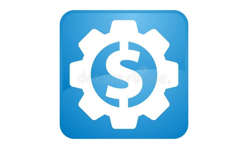 Icono del engranaje del dólar stock de ilustración