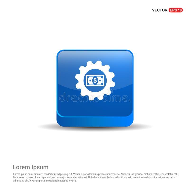 Icono del engranaje del dólar - botón azul 3d ilustración del vector