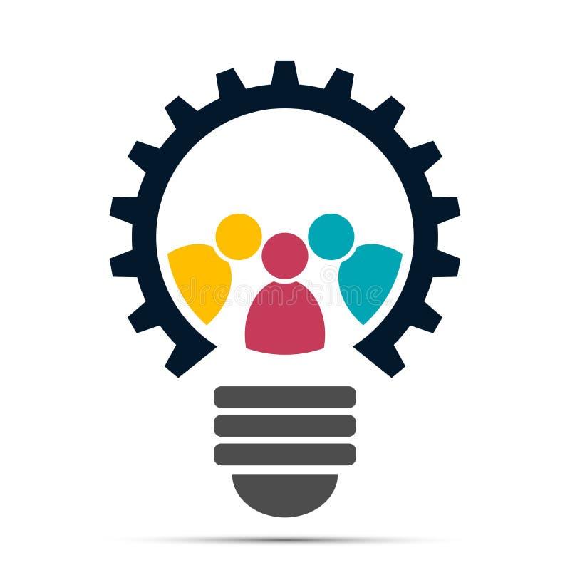 Icono del engranaje de la bombilla, haciendo frente al logotipo de la gente del trabajo en equipo ilustración del vector