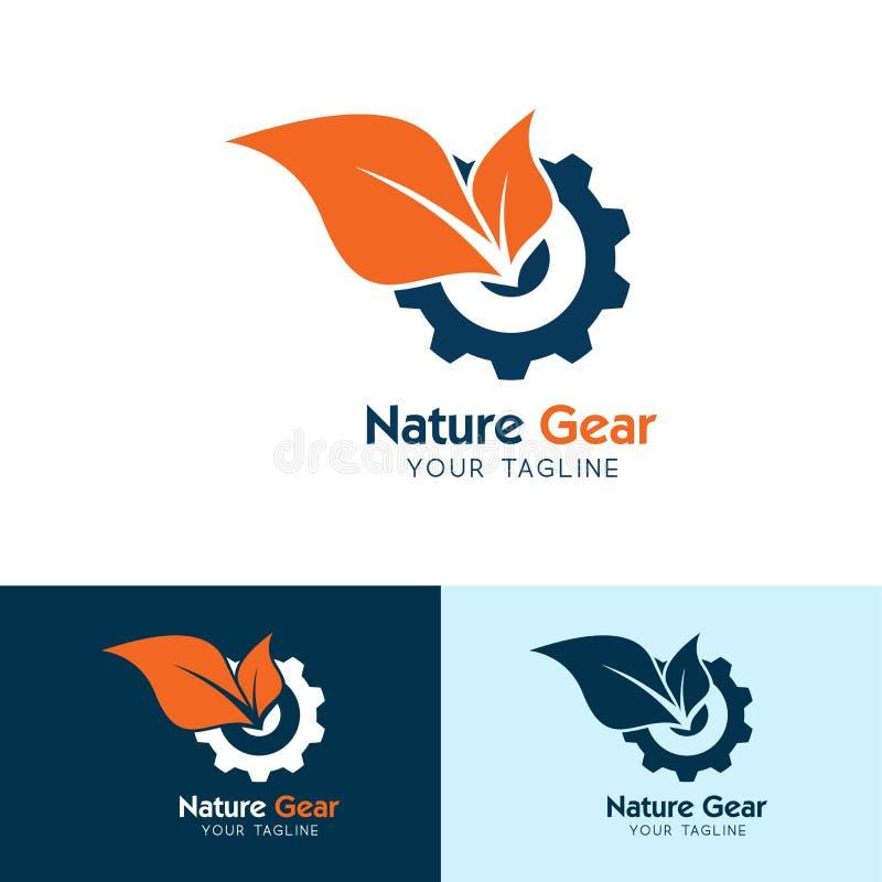Icono del engranaje de la naturaleza, del logotipo del engranaje y de la hoja - vector ilustración del vector