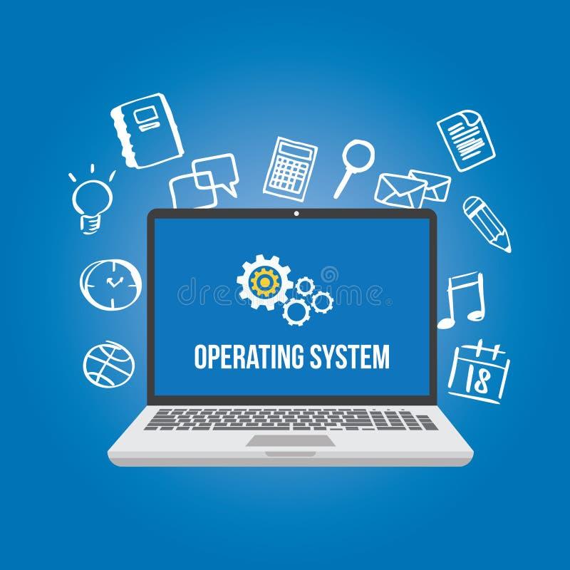 Icono del engranaje de la pantalla del ordenador portátil del ordenador del software del sistema operativo del OS ilustración del vector
