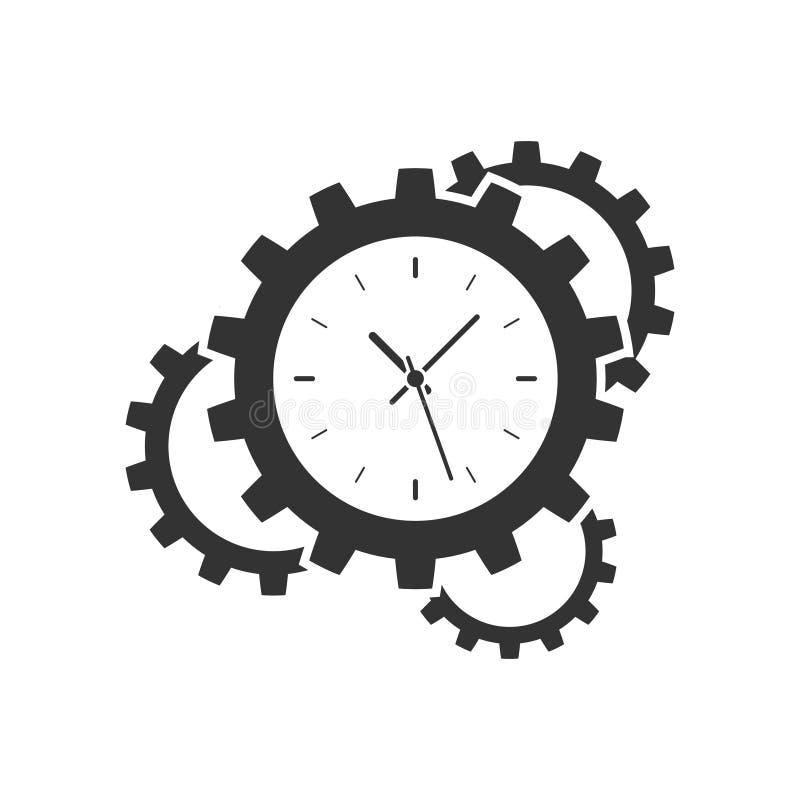 Icono del engranaje del reloj ilustración del vector
