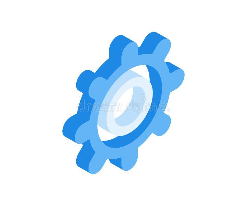 Icono del engranaje Ejemplo del vector de la rueda del diente en el estilo isométrico plano 3D stock de ilustración