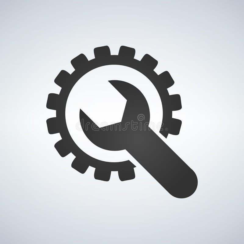 Icono del engranaje y de la llave, ajustes, servicio de reparación ilustración del vector