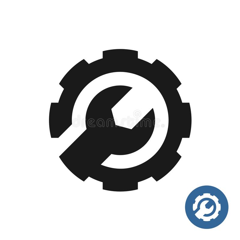 Icono del engranaje y de la llave Logotipo de la ayuda de servicio fotos de archivo