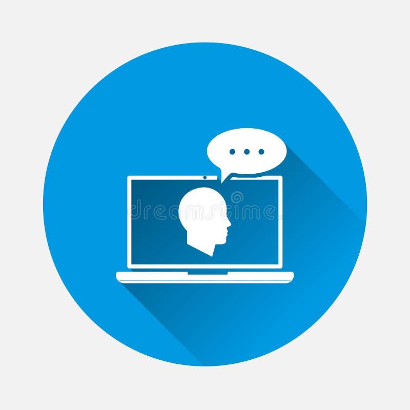 Icono del entrenamiento en línea del vector en fondo azul Imagen plana Remo libre illustration