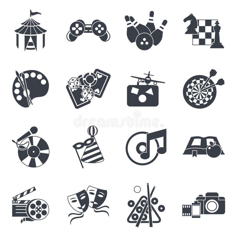 Icono del entretenimiento fijado en negro ilustración del vector