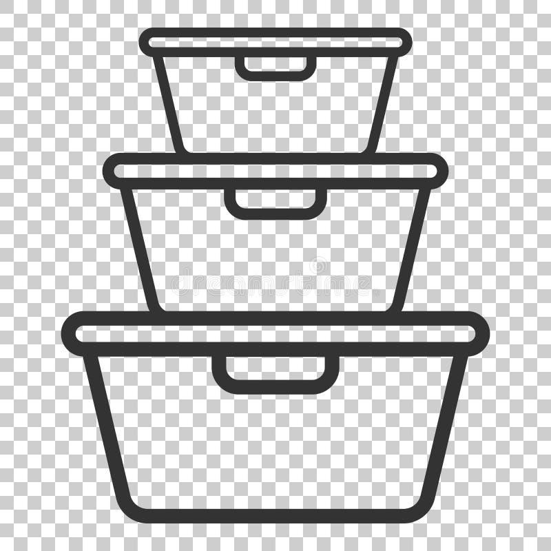 Icono del envase de comida en estilo plano Illustrat del vector del cuenco de la cocina ilustración del vector